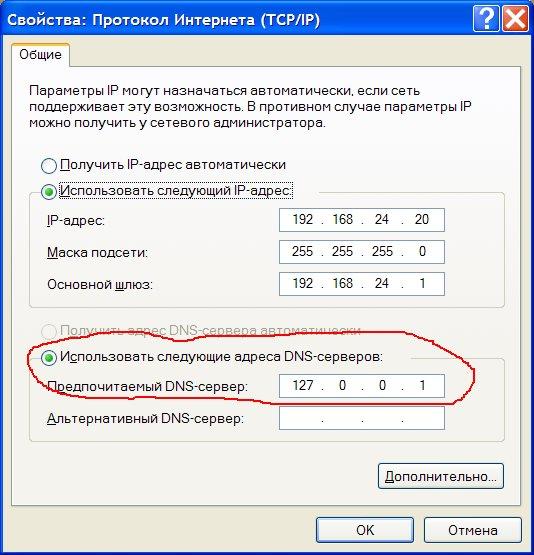 указание локального DNS сервера