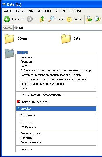 Пример программы unlocker в действии