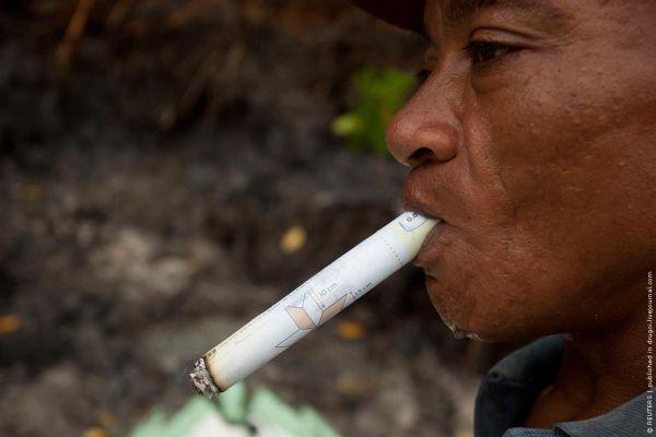 Целый день курит самокрутку