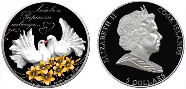 Монета Голуби Кохання 5$ камни Сваровски
