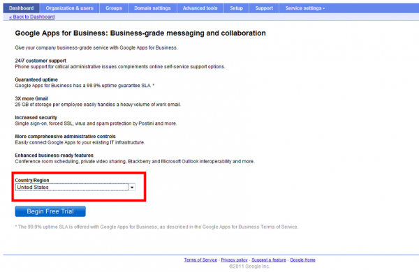 change defaulе country in google apps