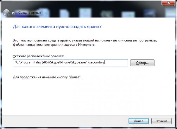 ярлык для второго skype