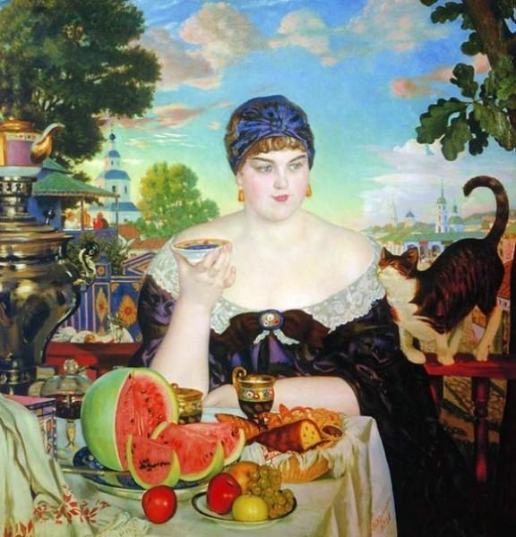 Б.М. Кустодиев - Купчиха за чаем
