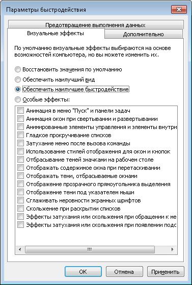 Обеспечить максимальное быстродействие Windows 7