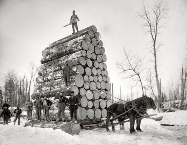старинные лесорубы и лесопилы