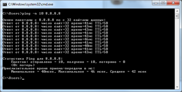 ping 8.8.8.8 Google DNS