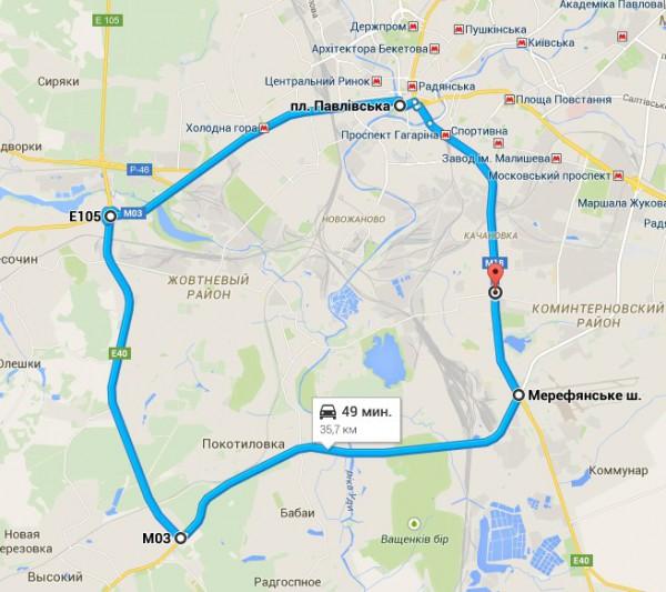 веломаршрут по Харьков 36 км