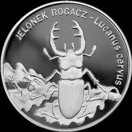 Польша, 20 злотых 1997 г., серебро, жук-олень на ветвях дуба