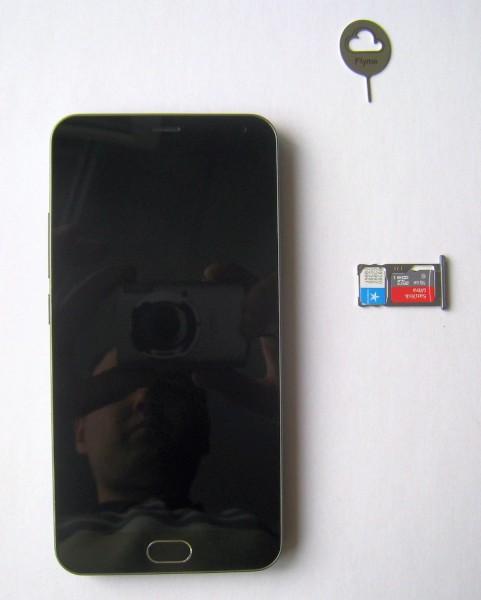nano sim meizu, установка симкарты и карты памяти