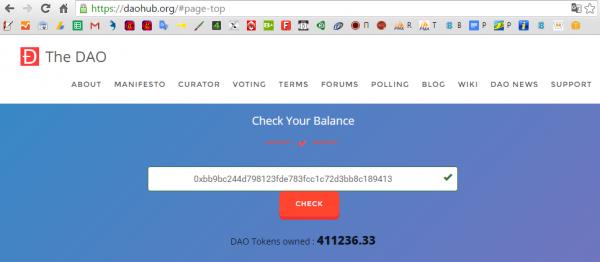 daohub check balanse