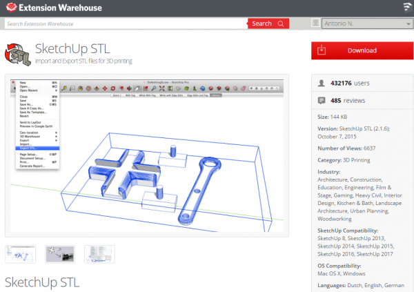 SketchUp STL Import and Export STL files for 3D printing