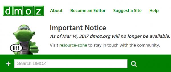 каталог DMOZ закрылся