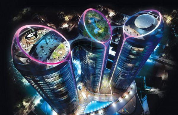 ночной вид башни Taryan Towers