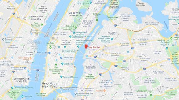 New-York maps, Дом с логотипом Pepsi-Cola на карте Нью-Йорка